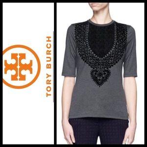 Tory Burch Estelle Velvet Flock T-Shirt.  Size Med